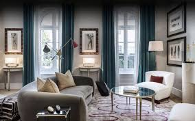 Dark Green Chiffon Curtain And White Chair For Modern Family Room - Family room arrangement ideas
