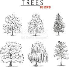 set sketch trees stock vector art 636634076 istock