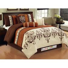 Rust Comforter Hg Station 7 Pc Striped Pleated Felt Scroll Damask French Lily