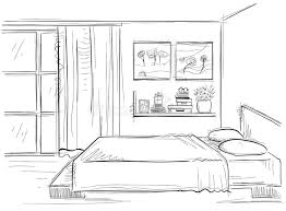 Home Interior Vector by Bedroom Interior Vector Hand Drawing Modern Home Illustration