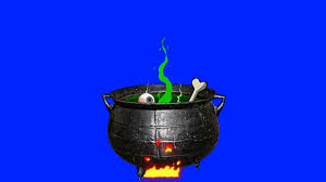 halloween coldren background witch pot cooking on fire on a blue screen background motion