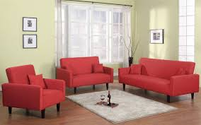 3 Pc Living Room Set 3 Pc Living Room Sleeper Set In Grey Red Or Oatmeal Soft Fabric