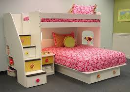 kids girls beds berg utica loft twin over full bunk bed with stairs and storage