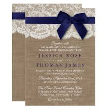 navy blue lace ribbon navy blue bow wedding invitations announcements zazzle