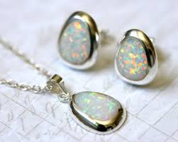 opal earrings necklace images White opal jewelry set pear opal earrings pear opal necklace jpg