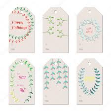christmas new year holidays gift tags with hand drawn branches