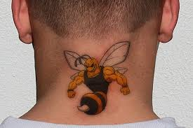 muscular bee tattoo on man back neck