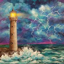 bob ross inspired acrylic tutorial lighthouse in a thunderstorm free painting lesson on you lighthouse painting thunderstorm