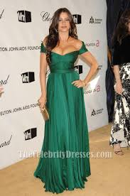 sofia vergara green evening dress oscar awards 2008 after party