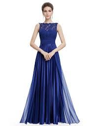 gorgeous round neck lace long royal blue bridesmaid party dress