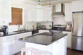 Black Granite Countertops White Subway Tile Backsplash Ideas - Backsplash for black granite