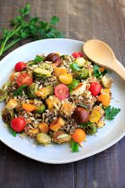 quinoa cuisine fall quinoa salad with squash and brussels sprouts trial and eater