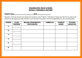 student progress report template weekly progress report template