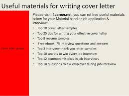 Warehouse Material Handler Resume Material Handler Cover Letter