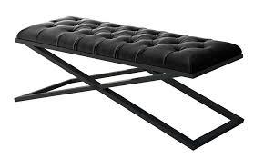 Black Velvet Tufted Bench Gray Velvet Bench With Customizable Frame Contemporary Accent