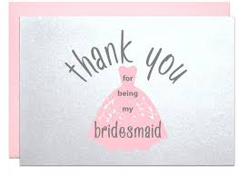 gift card bridal shower thank you for being my bridesmaid thank you card from to