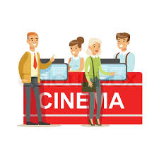 cinema visitors buying tickets at counter part of happy people in