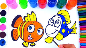 drawing finding dory nemo coloring pages learn colors fun