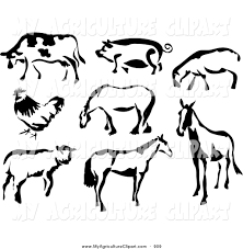 vector agriculture clipart of a black and white outline of cow