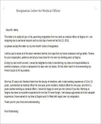 sample resignation letter for medical 5 examples in pdf