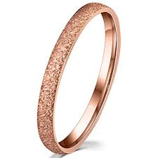 2mm ring womens 2mm stainless steel sand blast finish gold wedding