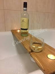 Wine Glass Holder For Bathtub Hardwood Wooden Bath Caddy Bath Shelf Wine By Countrytouchesuk