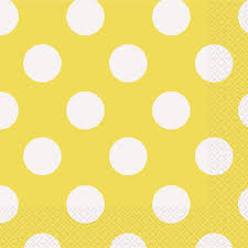 amazon com yellow polka dot paper napkins 16ct childrens party