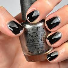 black and silver triangle nail design youtube