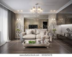 Traditional Living Room Interior Design - luxurious classic baroque living room interior stock illustration
