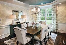 butcher block dining room table with transitional patterned drapes