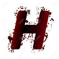 dirty bloody letter h with spots grunge alphabet scary letters