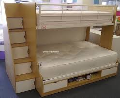 Beech Trio Triple Bunk Beds With Staircase Storage At Sleepland Beds - Small bunk bed mattress