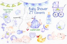 watercolor clip art baby shower illustrations creative market