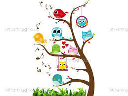 tree with cute birds u0026 owls wall decals for kids vdi1229en