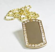 custom dog tag necklace gold tone plated frame cz bling iced out custom dog tag