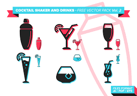 cocktail vector cocktail shaker and drinks free vector pack vol 2 download free