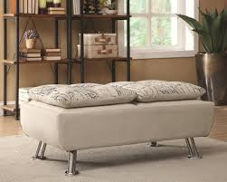 modern beige upholstered storage ottoman with serving trays inside