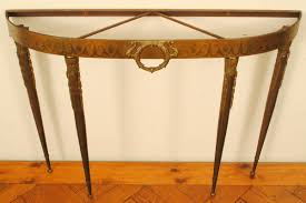 cast and etched brass demilune console table with marble top