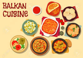 cuisine des balkans balkan cuisine vegetarian dishes icon with bean stew cabbage roll