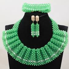 african beads necklace images 2018 nigerian party beads necklace set 2017 lemon green white jpg