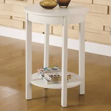 Best Place For Bedroom Furniture Round White Polished Wooden Nightstand With Small Drawer Place On