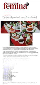 femina cuisine mantapnya bersantap ditemani 21 jenis sambal lara djonggrang