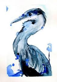 pastel drawing great blue heron bird fine art print 8 x 10 art