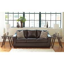 Fake Leather Sofa by Contemporary Faux Leather Sofa With Tufted Seat Cushions By