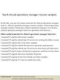 Resume Samples Director Operations by Top8clinicaloperationsmanagerresumesamples 150514055126 Lva1 App6892 Thumbnail 4 Jpg Cb U003d1431582736