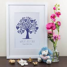 personalised art print blue family tree design by able labels