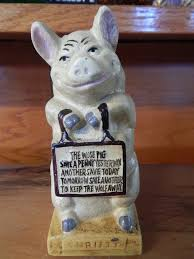 cast iron bank pig thrifty the wise pig u2013 jantiques llc