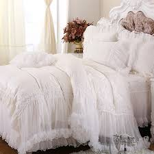 luxury white lace falbala ruffle cake bedding set queen king size bedding for