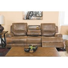 austin leather power reclining sofa with drop down table 1d