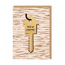 new home key greeting card ohh deer
